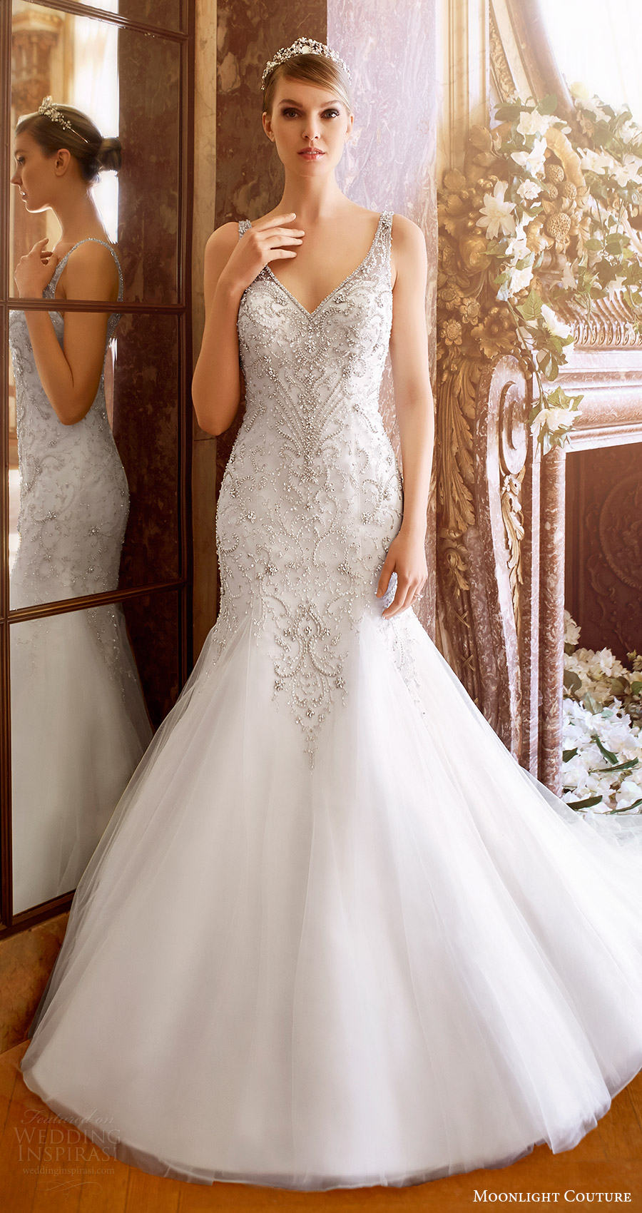 moonlight couture bridal fall 2016 sleeveless vneck beaded bodice mermaid wedding dress (h1319) mv