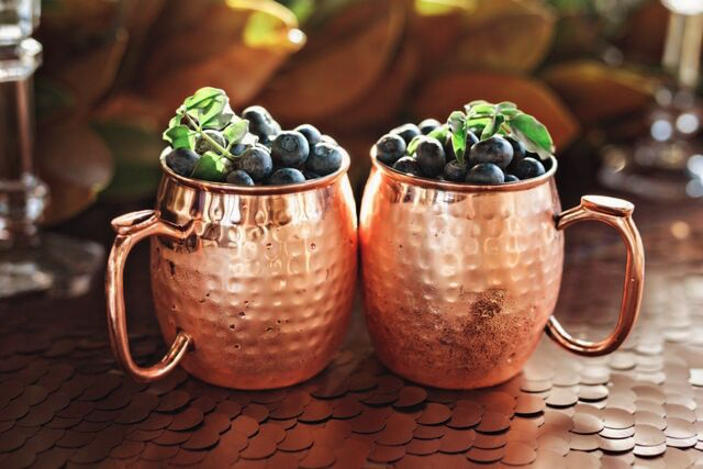Blueberries in mosco mule mugs | Amilia Photography