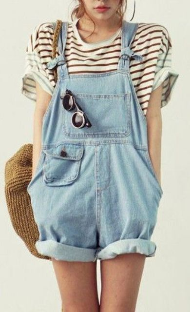 a denim dungaree and a striped tee