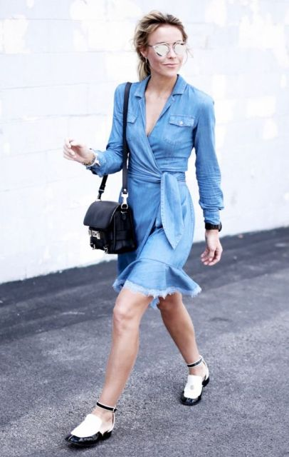 Look with denim wrap dress