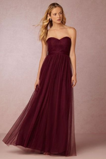 Airy marsala maxi bridesmaid dress