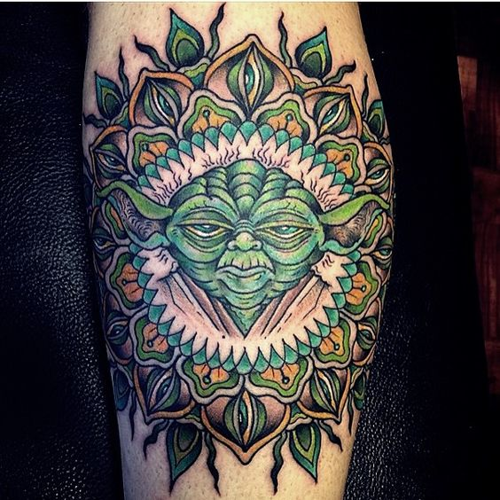 colorful Master Yoda tattoo