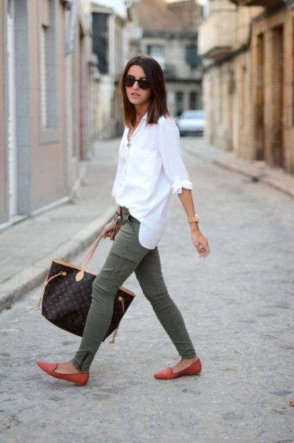 White loose button down shirt and cargo pants