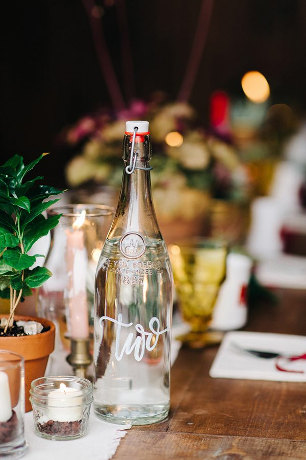 wedding table numbers - photo by Josselyn Peterson Photographer http://ruffledblog.com/pacific-northwest-sunset-wedding-ideas