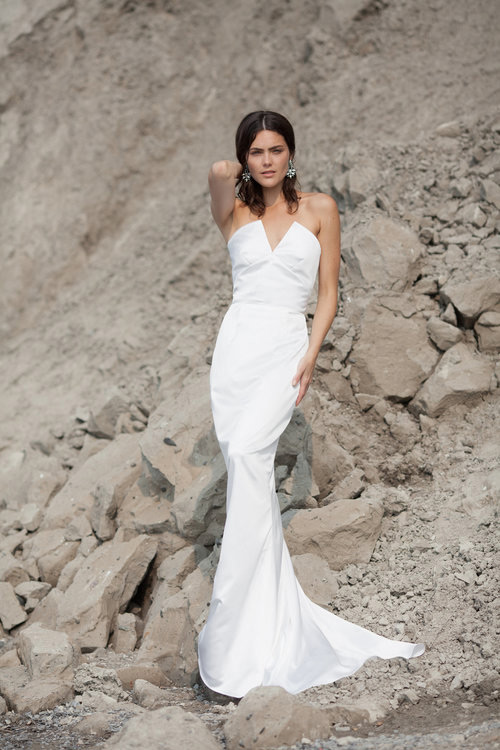 Stand out rocking this plunging neckline mermaid wedding dress and look laconic and sexy