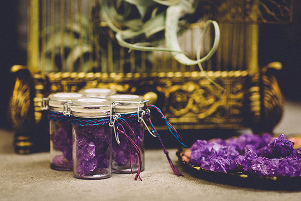 wedding favor ideas - photo by Jenn Byrne Creative http://ruffledblog.com/diy-purple-rock-candy-favors