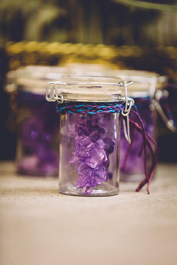 rock candy favors - photo by Jenn Byrne Creative http://ruffledblog.com/diy-purple-rock-candy-favors