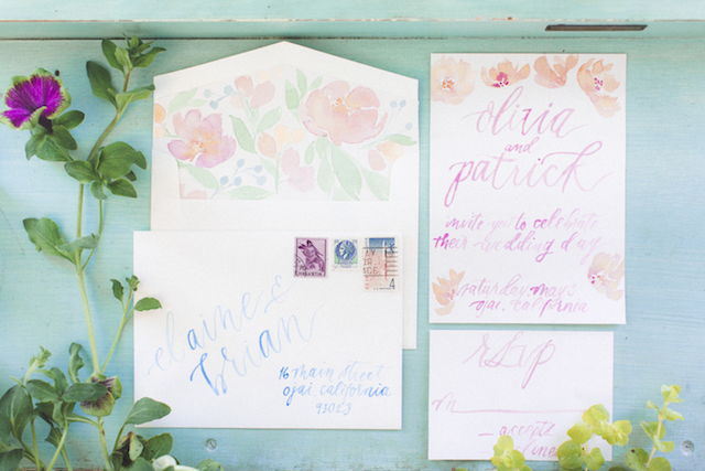 Watercolor calligraphy wedding invitation suite | Stephanie Yonce Photography