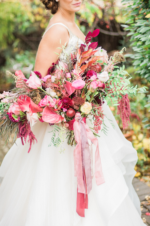 Red and pink berry bridal bouquet with ribbons   Anna Markley