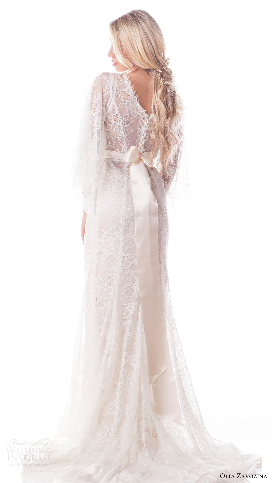 olia zavozina bridal spring 2017 butterfly sleeves vneck fit flare wedding dress lace overlay (valentina) bv pearl buttons