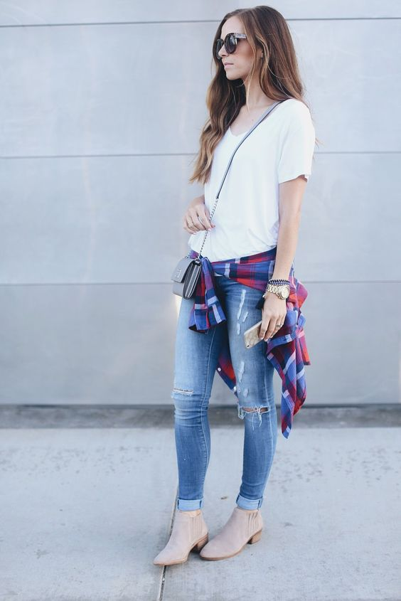 blue jeans, a white tee, a plaid shirt and booties