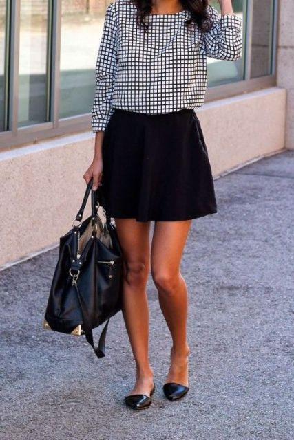 Mini skirt and checked blouse