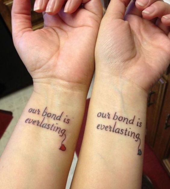 bff phrase on wrist (our bond is everlasting)