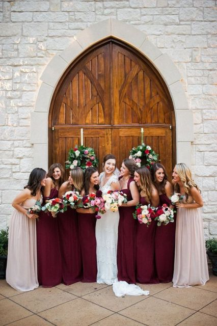 Marsala bridesmaid dresses for an elegant wedding