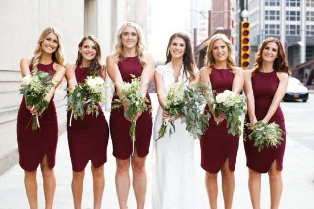 Marsala bridesmaid dresses for modern weddings