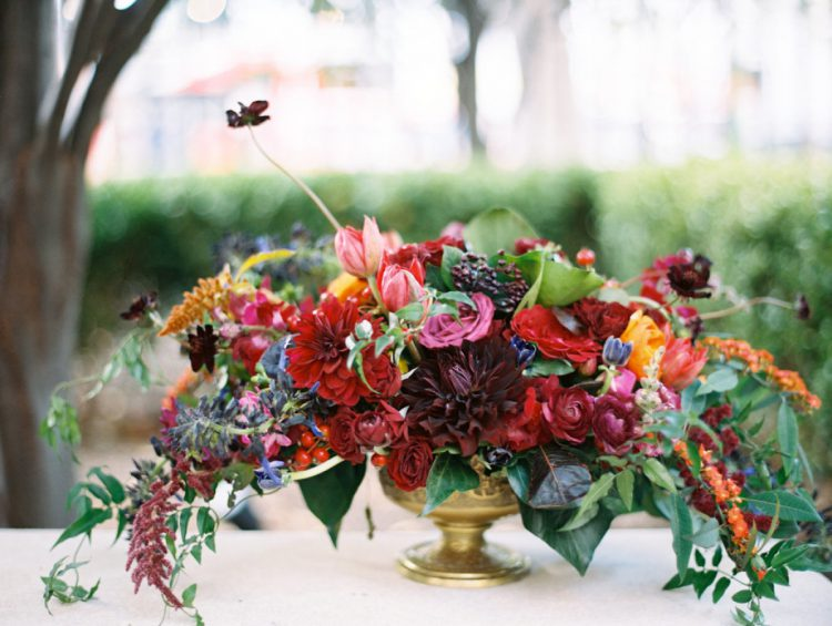 The centerpieces were lush in rich fall tones