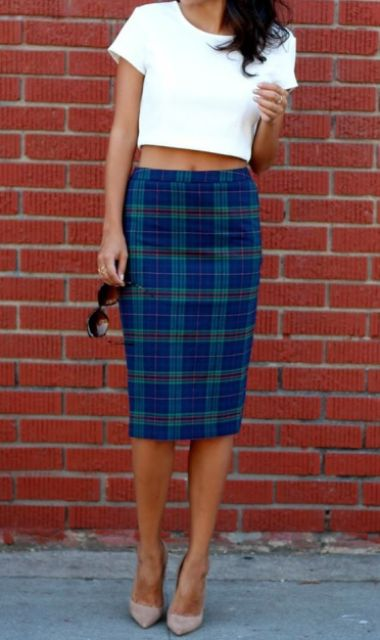 White crop top and checked skirt