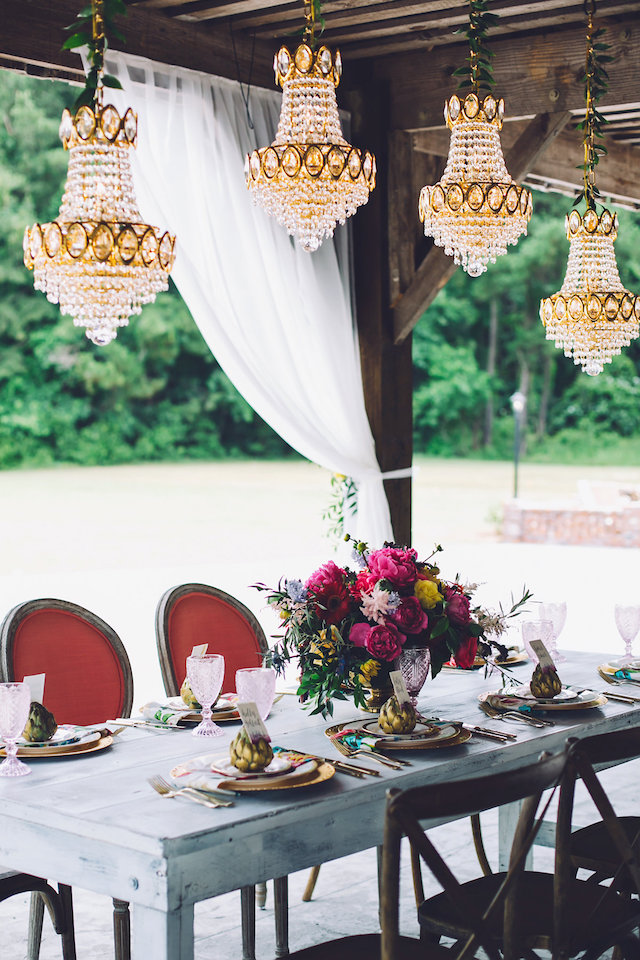 Rustic barn wedding reception with chandeliers | Monika Gauthier Photography