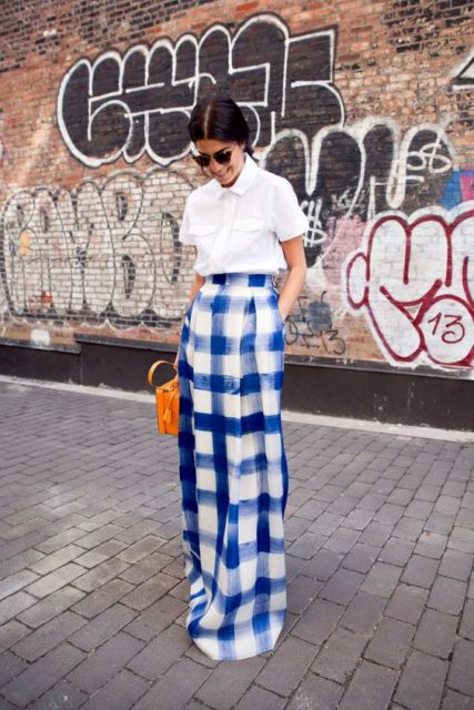 Unique checked maxi skirt and white shirt