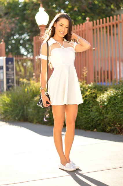 Look with original white skater dress and loafers