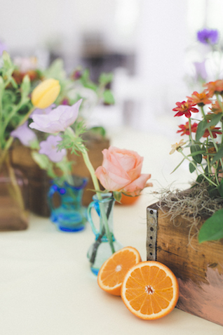 Citrus and planter centerpieces | Stephanie Yonce Photography