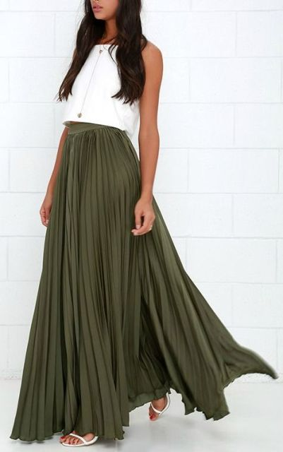 Maxi olive green pleated skirt and white crop top