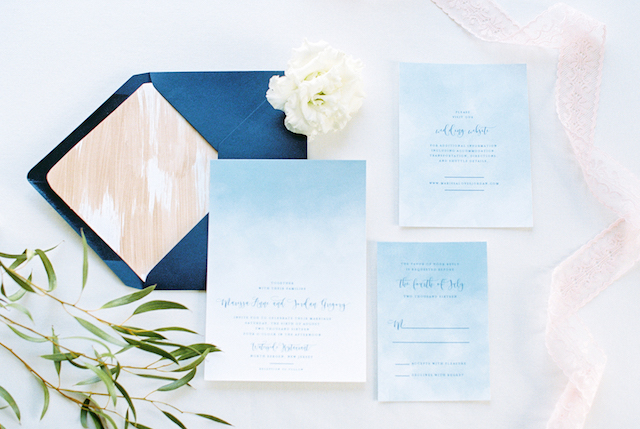 Copper and blue wedding invitations | Alexis June Weddings