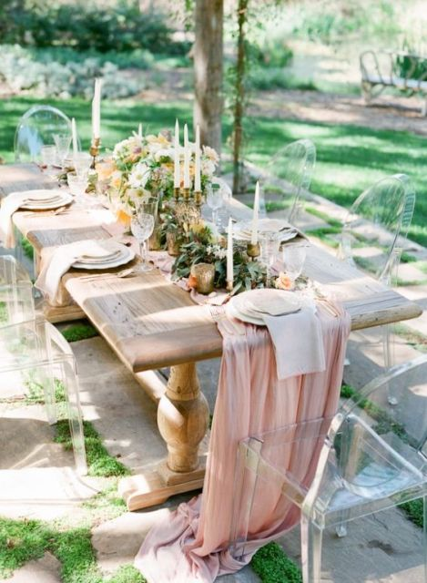 Chic lucite chairs for wedding day