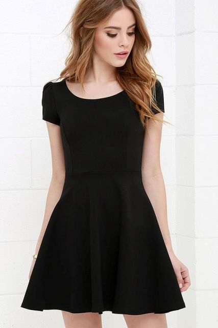 Look with simple skater dress