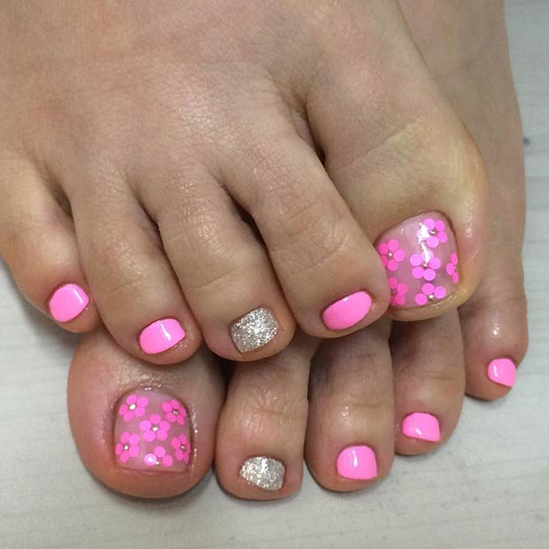 Pink Flower Toe Nail Design with a Pop of Gold