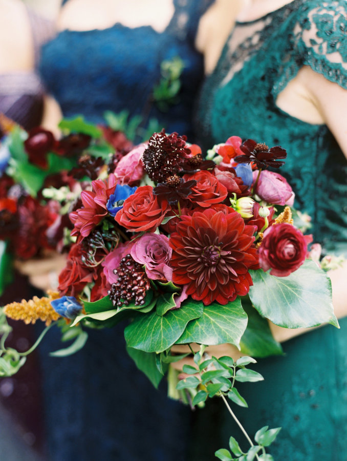 This bold moody fall wedding didn't have a hint on pastels or neutrals