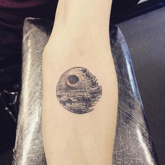 Death Star arm tattoo