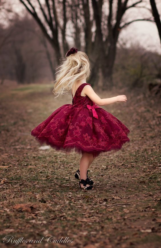 bold red lace dress with black shoes