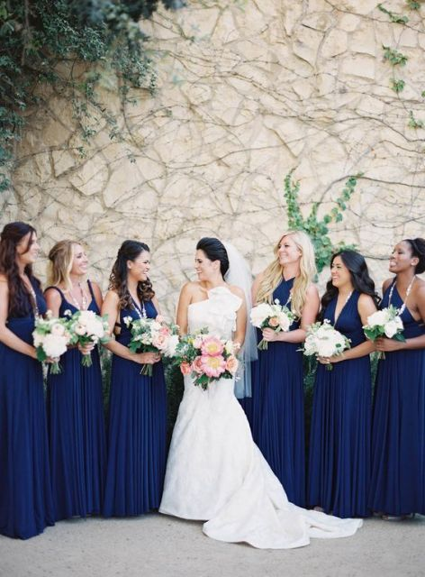 Navy pleated maxi gowns for your bridesmaids