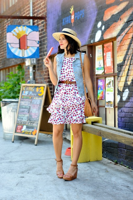 Look with cherry print dress, and straw hat