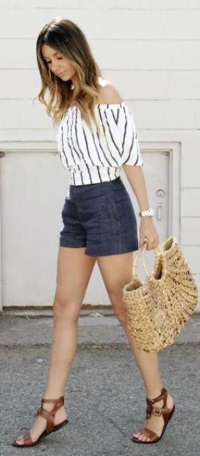 denim shorts, a striped off the shoulder blouse with brown sandals