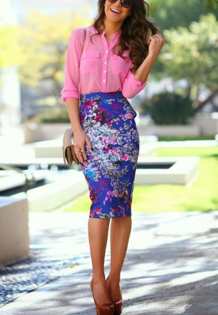 With pink button down shirt and colored heels