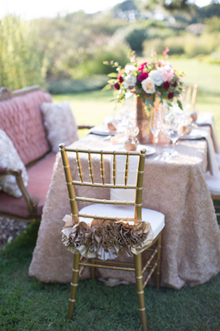 Ruffle wedding chair decor | Grant & Deb Photographers