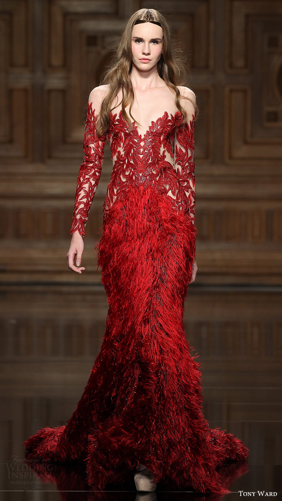 tony ward couture fall 2016 long sleeves illusion off shoulder beaded feather sheath dress (27) mv red color