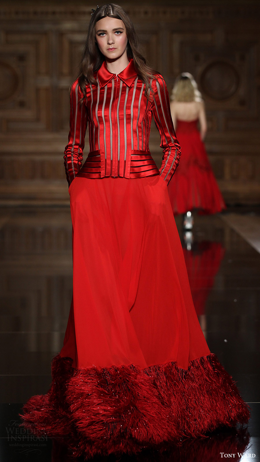 tony ward couture fall 2016 long sleeves shirt collar top a line skirt feather (31) mv red color