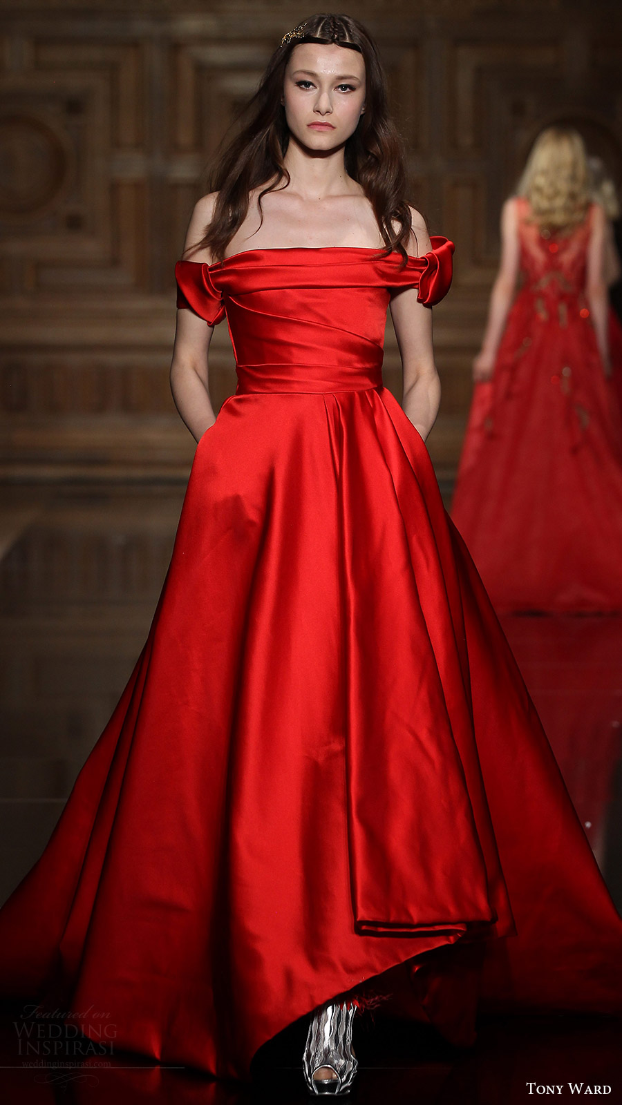 tony ward couture fall 2016 off shoulder a line gown (29) mv red color