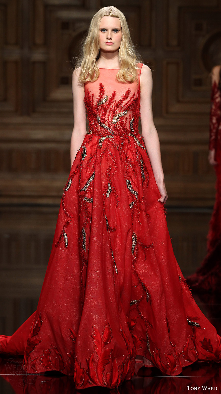 tony ward couture fall 2016 sleeveless illusion neckline a line dress (28) mv red color