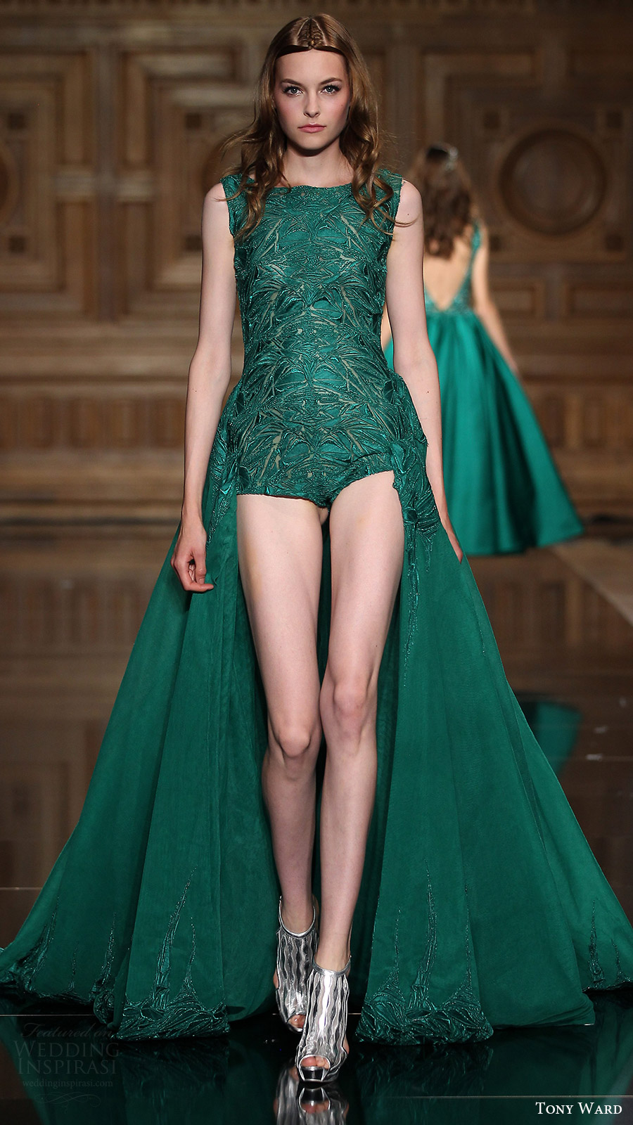 tony ward couture fall 2016 sleeveless scoop playsuit a line overskirt (25) mv green color