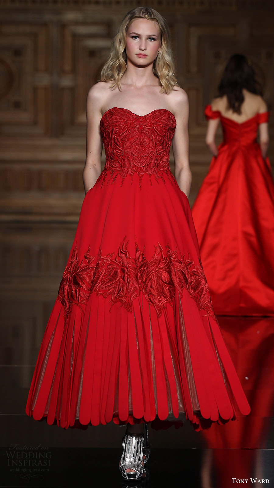 tony ward couture fall 2016 strapless sweetheart ankle length evening gown (30) mv red color