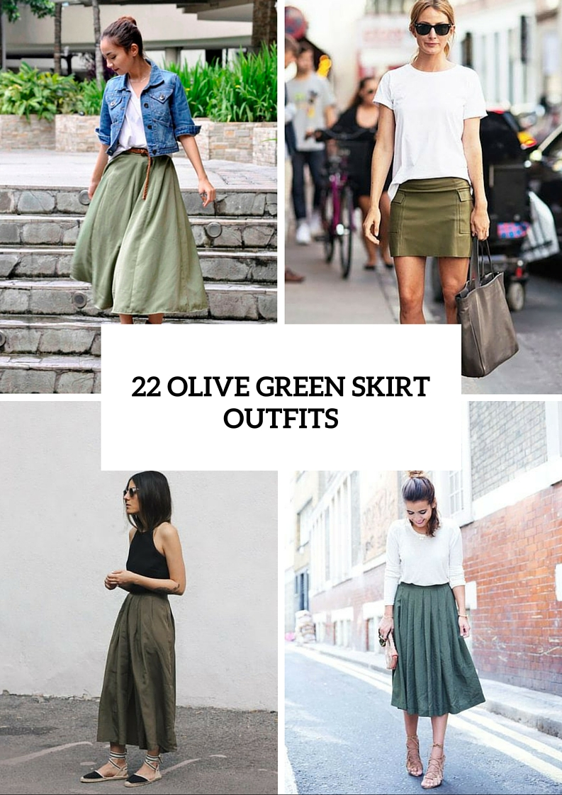 Trendy Olive Green Skirt Outfits