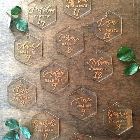 Lucite place cards for your guests