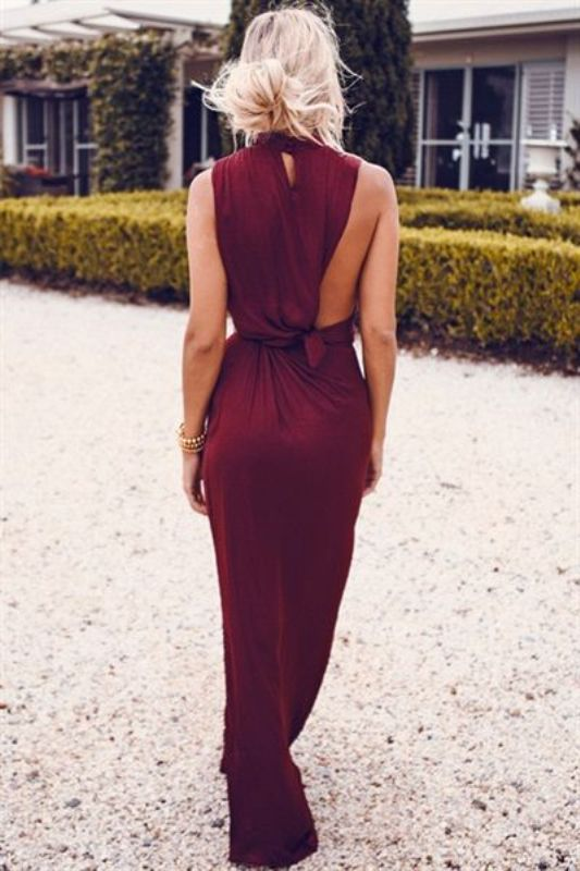 Creaitve wine colored maxi dress
