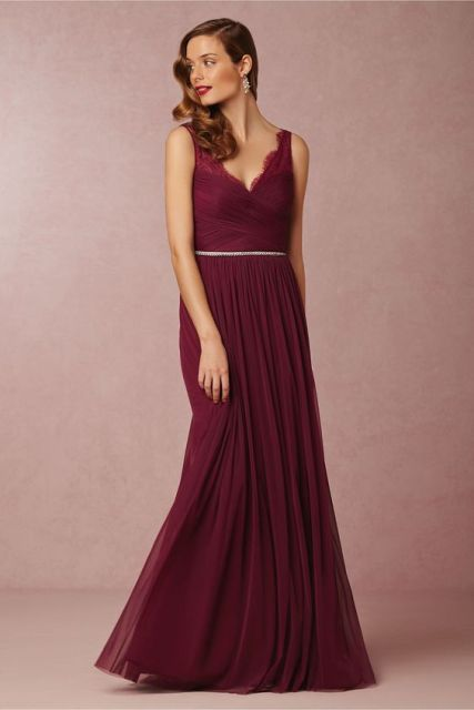 Elegant marsala maxi bridesmaid dress