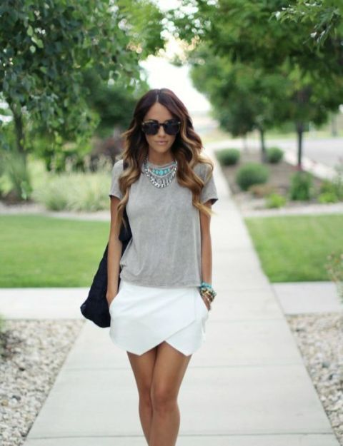 Stylish outfit with gray shirt and white tulip skirt