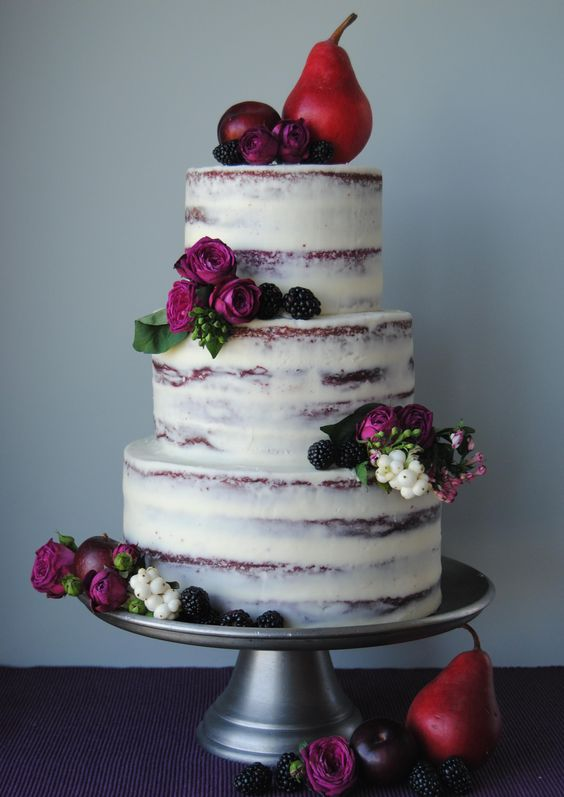fall wedding cake with pears, blackberries and purple flowers